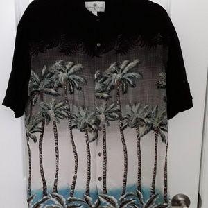 Island Shores 100% rayon men's button front shirt